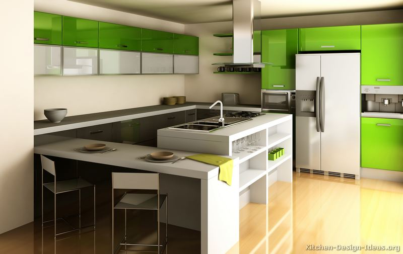 Ultra Modern Kitchen With Glossy Green Cabinets (1 Of 2)