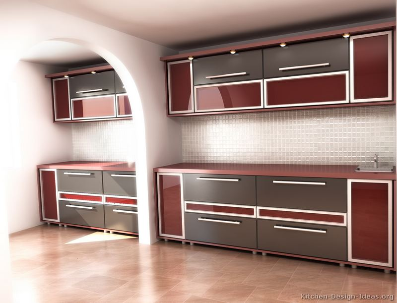 Red And Grey Kitchen Ideas Part - 49: Modern Two-Tone Kitchen