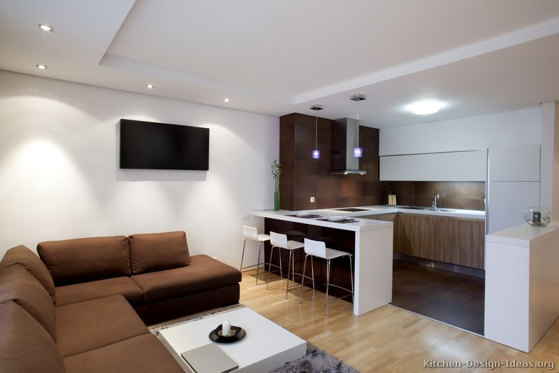 Pictures of kitchens modern two tone kitchen cabinets - Kitchen peninsula designs with seating ...
