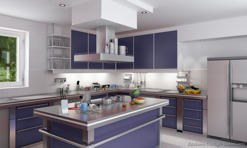 Modern blue kitchen cabinets pictures design ideas for Decoration cuisine moderne 2014