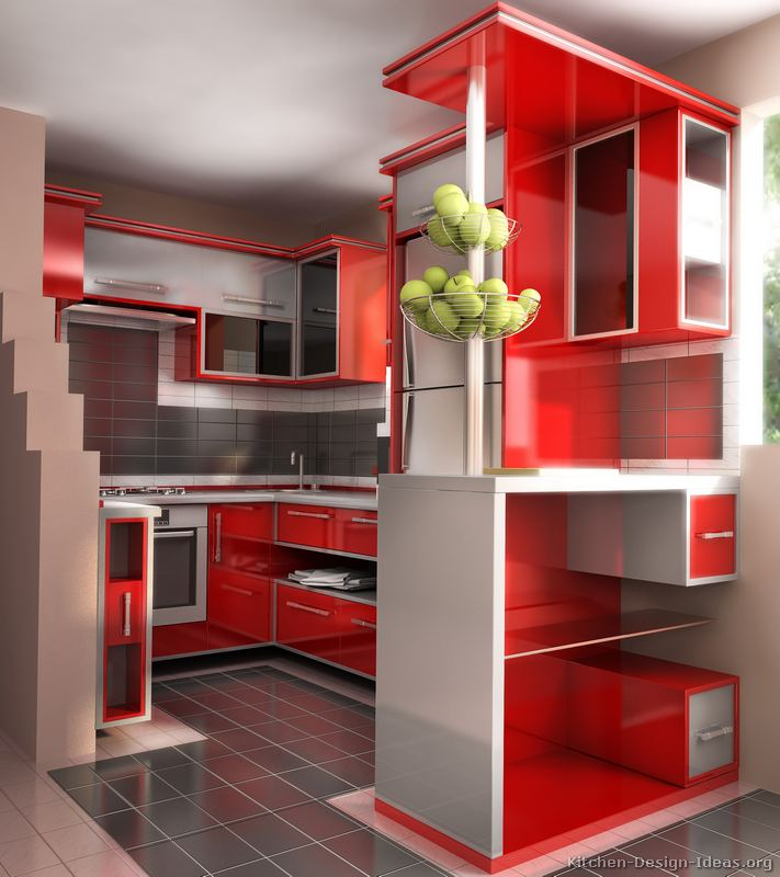 Pictures of Kitchens - Modern - Red Kitchen Cabinets (Page 3)