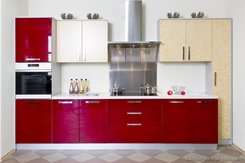 Pictures of kitchens modern two tone kitchen cabinets for Red kitchen designs photo gallery