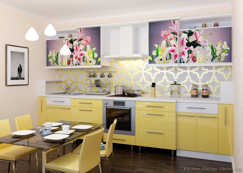 Pictures of modern yellow kitchens gallery design ideas for Modern yellow kitchen cabinets