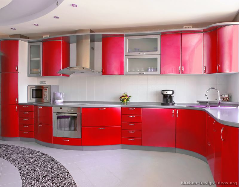 Pictures of kitchens modern red kitchen cabinets page 3 for Red kitchen designs photo gallery