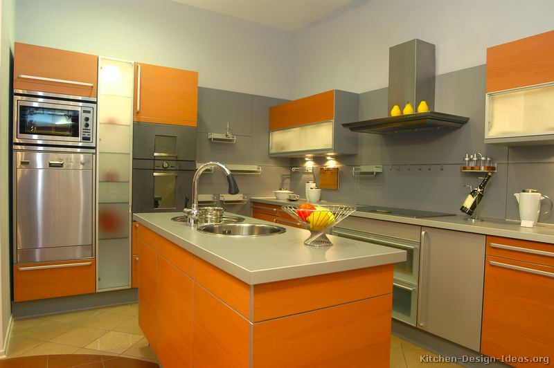 Modern Orange Kitchen Cabinets