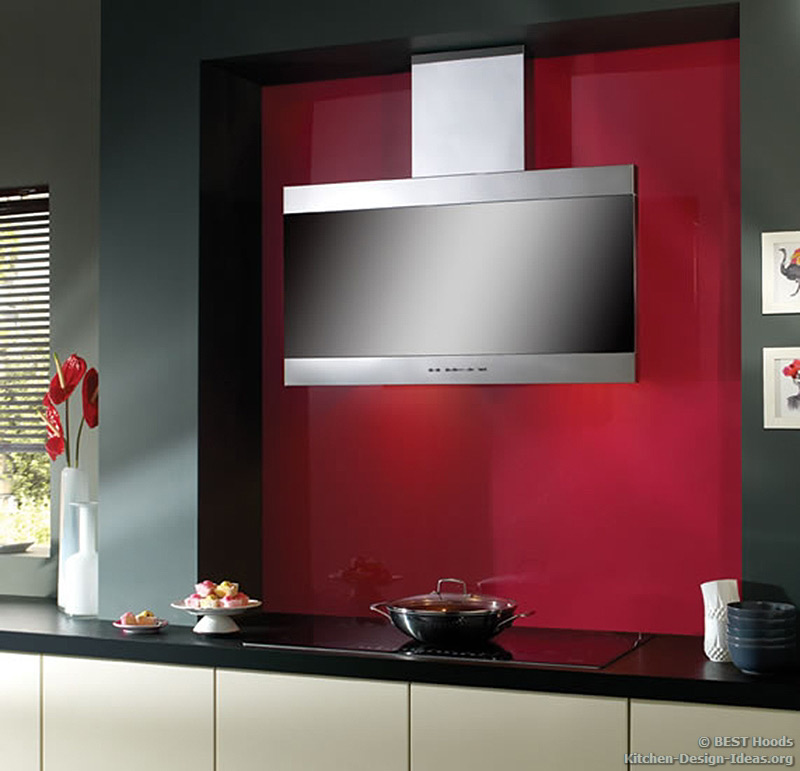 The Latina range hood has a sleek vertical front for ample head room.