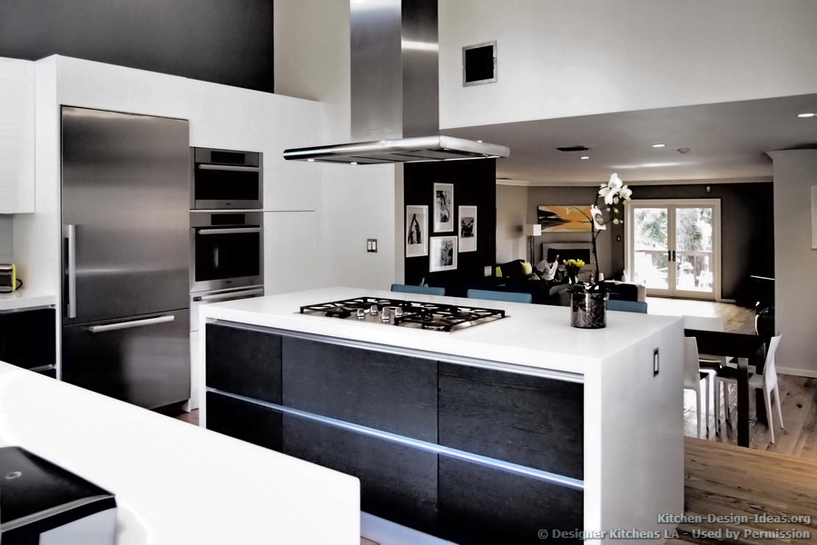 Designer kitchens la pictures of kitchen remodels for Black and white modern kitchen designs