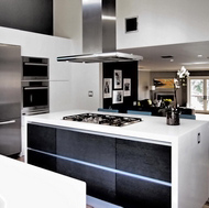Modern Black and White Kitchen, Island Hood - Designer Kitchens LA