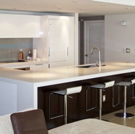 Contemporary White Kitchen, Modern Bar Stools - Designer Kitchens LA