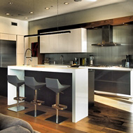 Contemporary Black & White Kitchen, Modern Bar Stools - Designer Kitchens LA