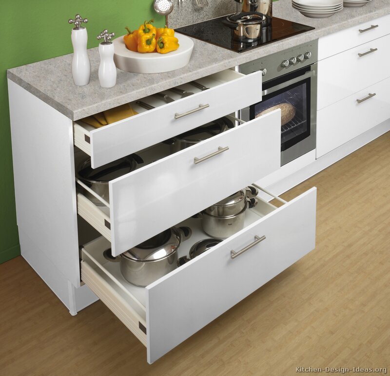 Pictures of kitchens modern white kitchen cabinets for Kitchen cabinet drawers