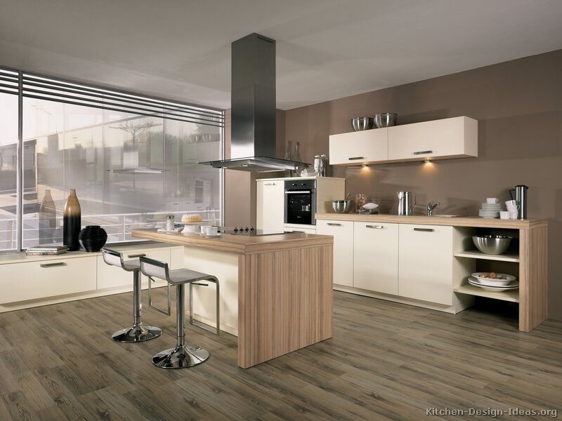 Modern White Kitchens With Wood pictures of kitchens - modern - white kitchen cabinets