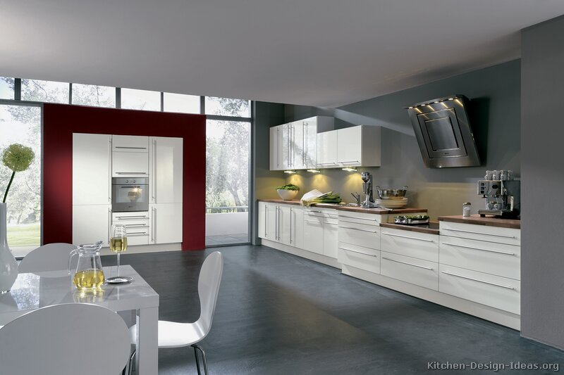 Pictures of kitchens modern white kitchen cabinets for Kitchen ideas white cabinets red walls