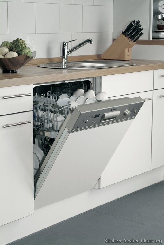 Countertop Dishwasher In Cabinet : Pictures of Kitchens - Modern - White Kitchen Cabinets (Kitchen #13)