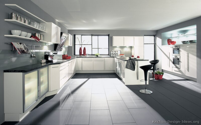 Modern White And Gray Kitchen pictures of kitchens - modern - white kitchen cabinets