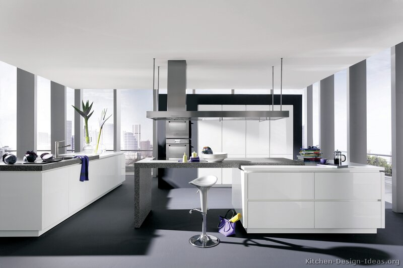 Modern White And Black Kitchen pictures of kitchens - modern - white kitchen cabinets