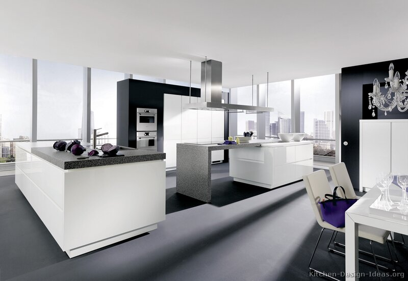 Pictures of kitchens modern white kitchen cabinets for Modern black and white kitchen designs