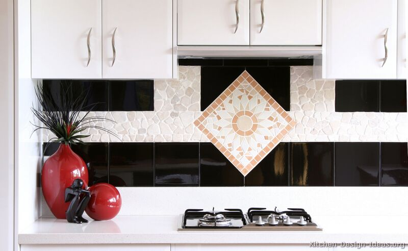 kitchen tiles for white kitchen. Black and White Tile Backsplash Source  Modern Kitchens Kitchen Designs Ideas Photos