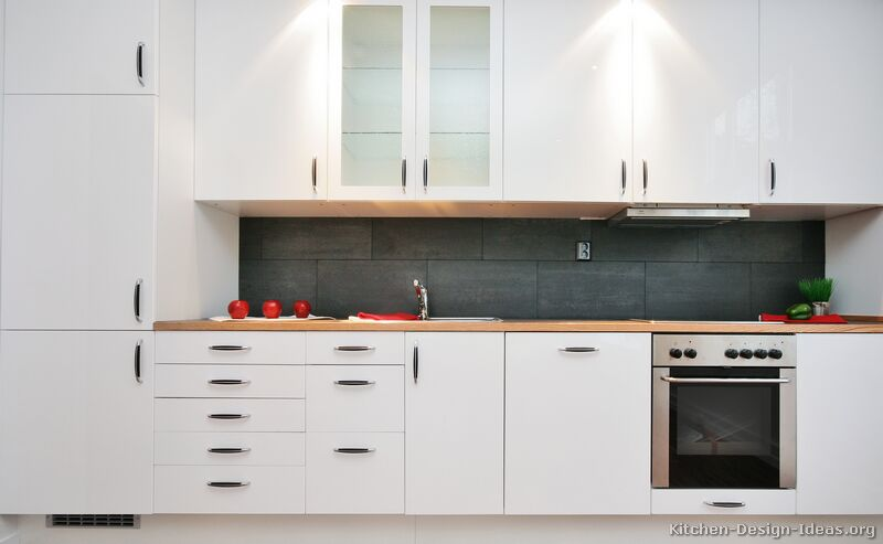 White modern kitchen cabinet