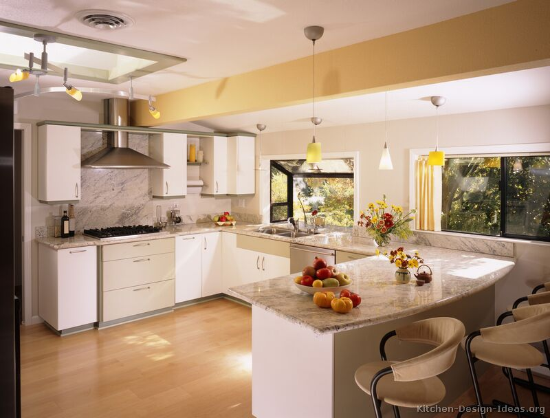 Pictures of kitchens modern white kitchen cabinets for Beautiful modern white kitchens