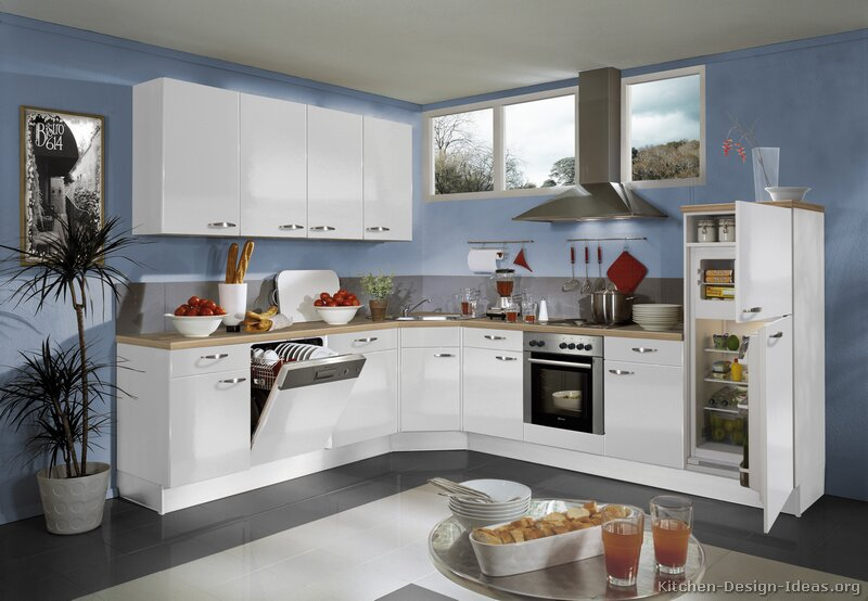 Blue kitchen walls white cabinets