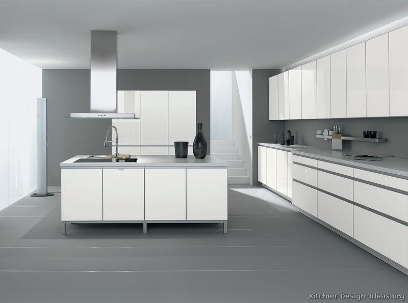 White kitchen cabinets gray floor Kitchen designs with grey walls