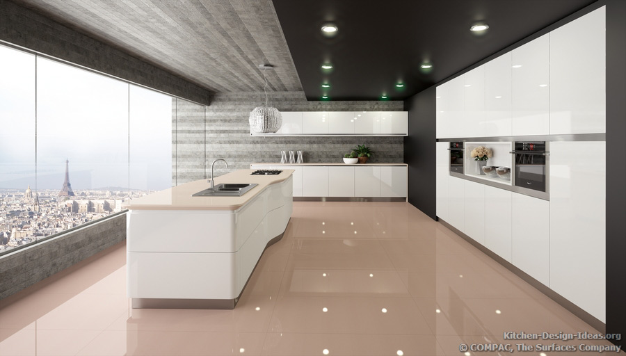 Compac quartz pictures of kitchen countertops surfaces for View kitchens ideas