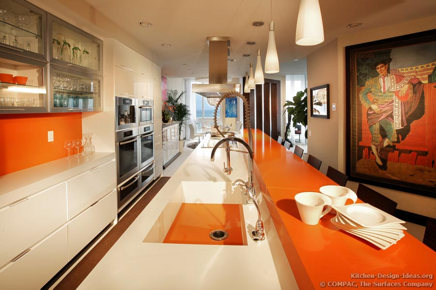 Modern Galley Kitchen with White and Orange Quartz Countertops