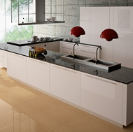 Modern White Kitchen with Pierre Bleue Noce Quartz Countertops