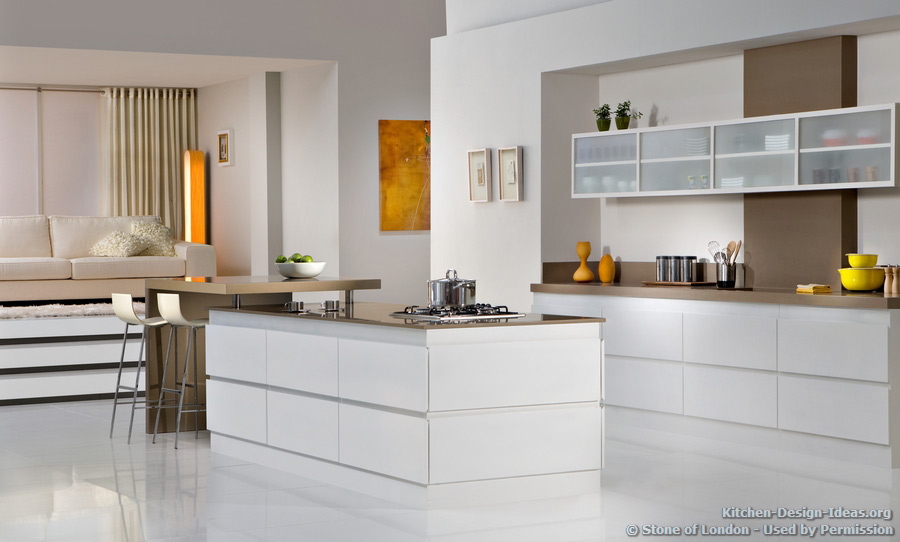 A Modern White Kitchen With Brown Engineered Quartz Countertops