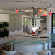 Modern White Kitchen, Curved Glass Bar - Designer Kitchens LA