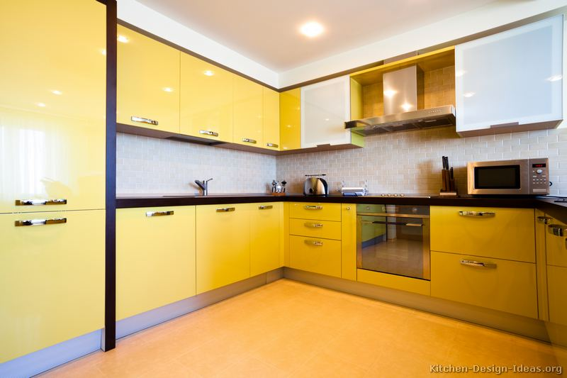 Microwave oven yellow microwave oven for Modern yellow kitchen cabinets