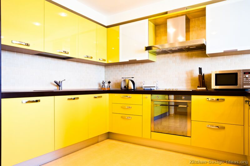 Pictures of kitchens modern yellow kitchens kitchen 7 Kitchen design yellow and white