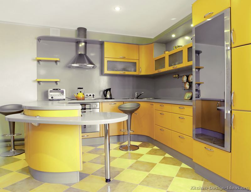 Pictures of kitchens modern yellow kitchens kitchen 9 for Grey yellow kitchen ideas