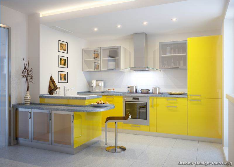 Pictures of modern yellow kitchens gallery design ideas for Modern kitchen cabinets for small kitchens