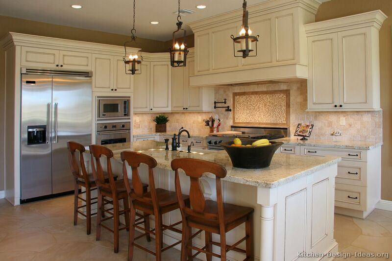 Traditional Antique White Kitchen & Pictures of Kitchens - Traditional - Off-White Antique Kitchen Cabinets