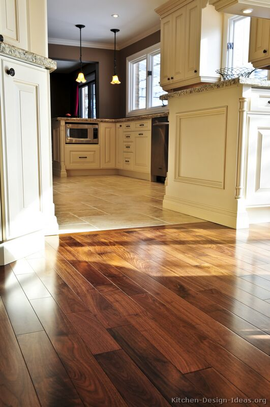 Pictures of kitchens traditional off white antique for Main floor flooring ideas