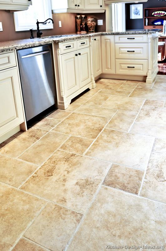 Kitchen cabinet dilemma white or brown for Kitchen flooring ideas