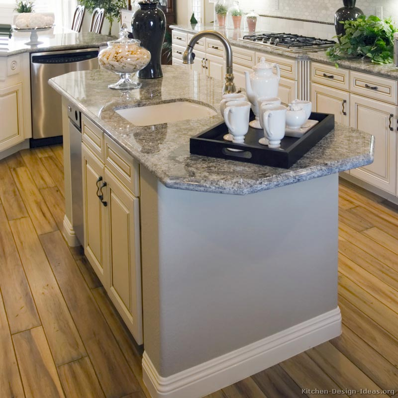 Kitchen Island with Prep Sink and Pull-Out Sprayer Faucet