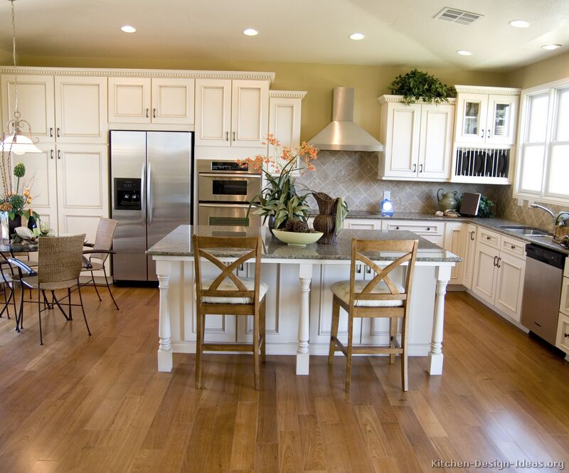 Pictures of kitchens traditional off white antique for Kitchen cabinet remodel