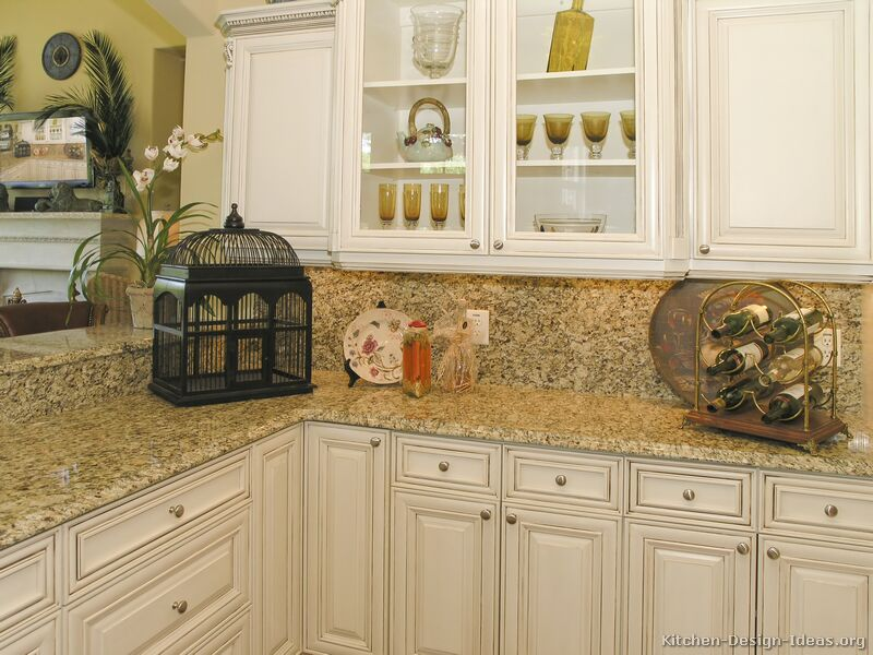 Traditional antique white kitchen cabinets rachael edwards for Antique white kitchen cabinets