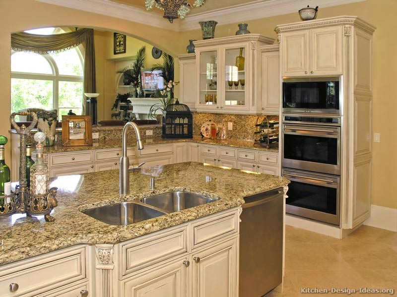 Pictures of kitchens traditional off white antique for Kitchen designs cabinets