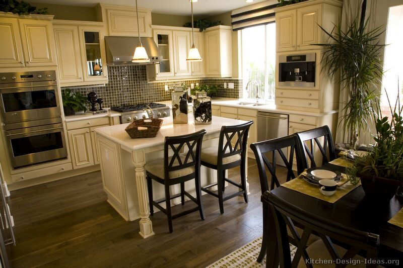 Pictures of kitchens traditional off white antique for Kitchen ideas cream cabinets