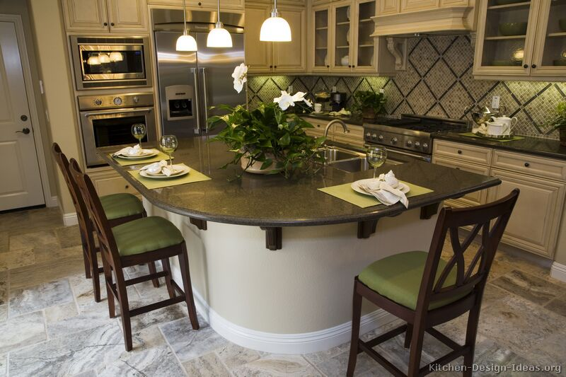 Pictures of kitchens traditional off white antique kitchens kitchen 8 for Antique kitchen island ideas
