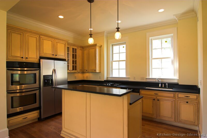 Pictures of kitchens traditional off white antique Kitchen wall colors with maple cabinets