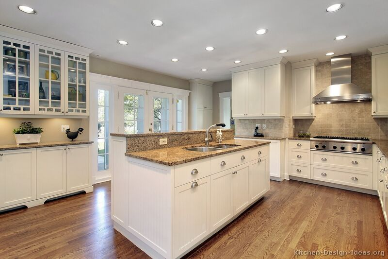 Pictures of kitchens traditional off white antique for White kitchen cabinets ideas