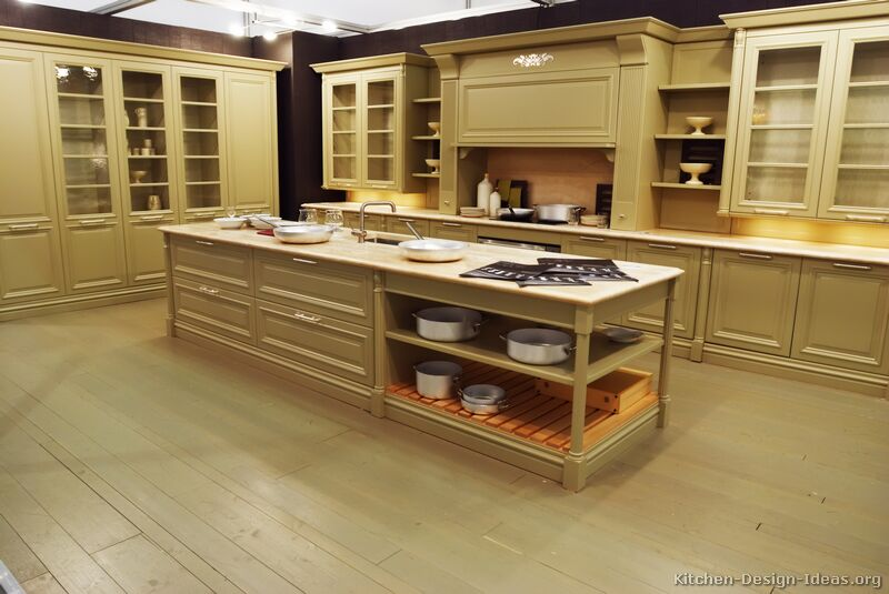 Pictures of kitchens traditional off white antique for Kitchen cupboard designs