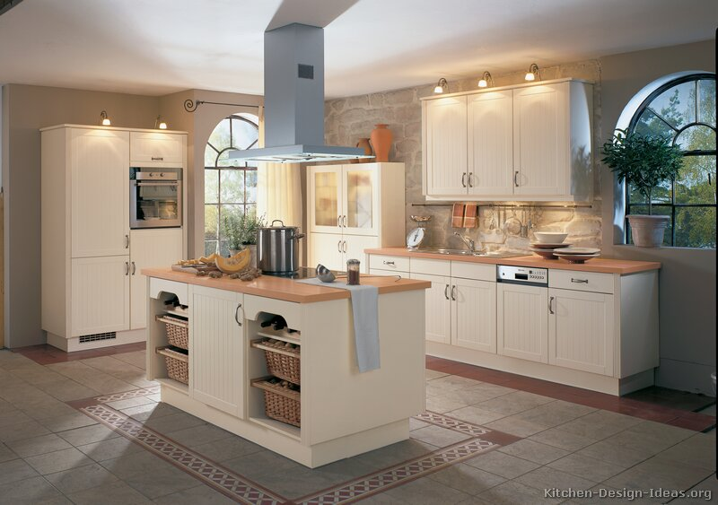 Pictures of kitchens traditional off white antique for Kitchen cabinets and countertops ideas
