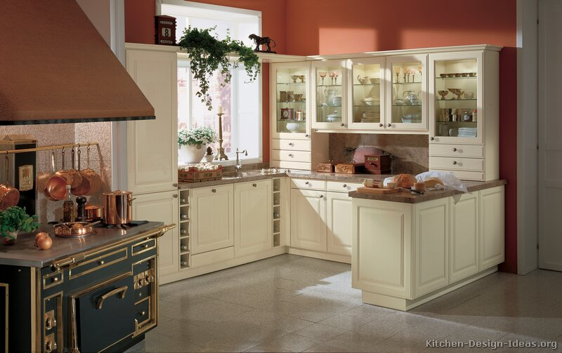 Pictures of kitchens traditional off white antique for Kitchen ideas white cabinets red walls