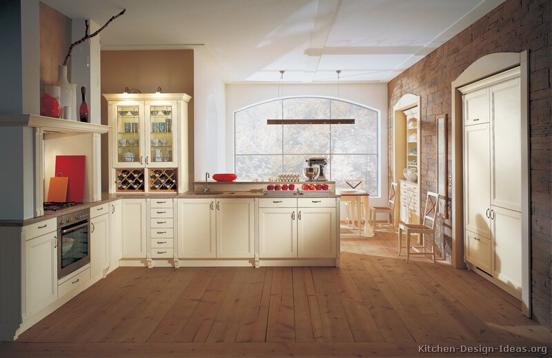 Pictures Of Kitchens Traditional OffWhite Antique Kitchen Cabinets - Kitchen wall color ideas with white cabinets